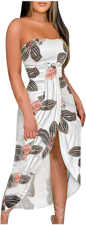 Casual Dress for Women,Womens Off Shoulder Strapless Beach Dress Floral Print Wrap Split Hem Summer Maxi Dress