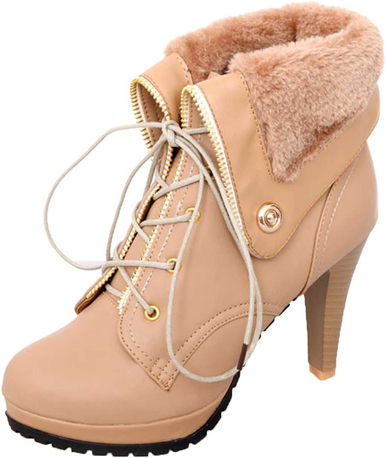 Vitalo Womens Lace Up High Heel Platform Ankle Boots Fold Over Winter Snow Booties