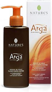 NATURE'S Argà Olio Solare Gocce di Sole Fluido, Olio corpo auto abbronzante, Colorito luminoso e naturale, Olio abbronzant...