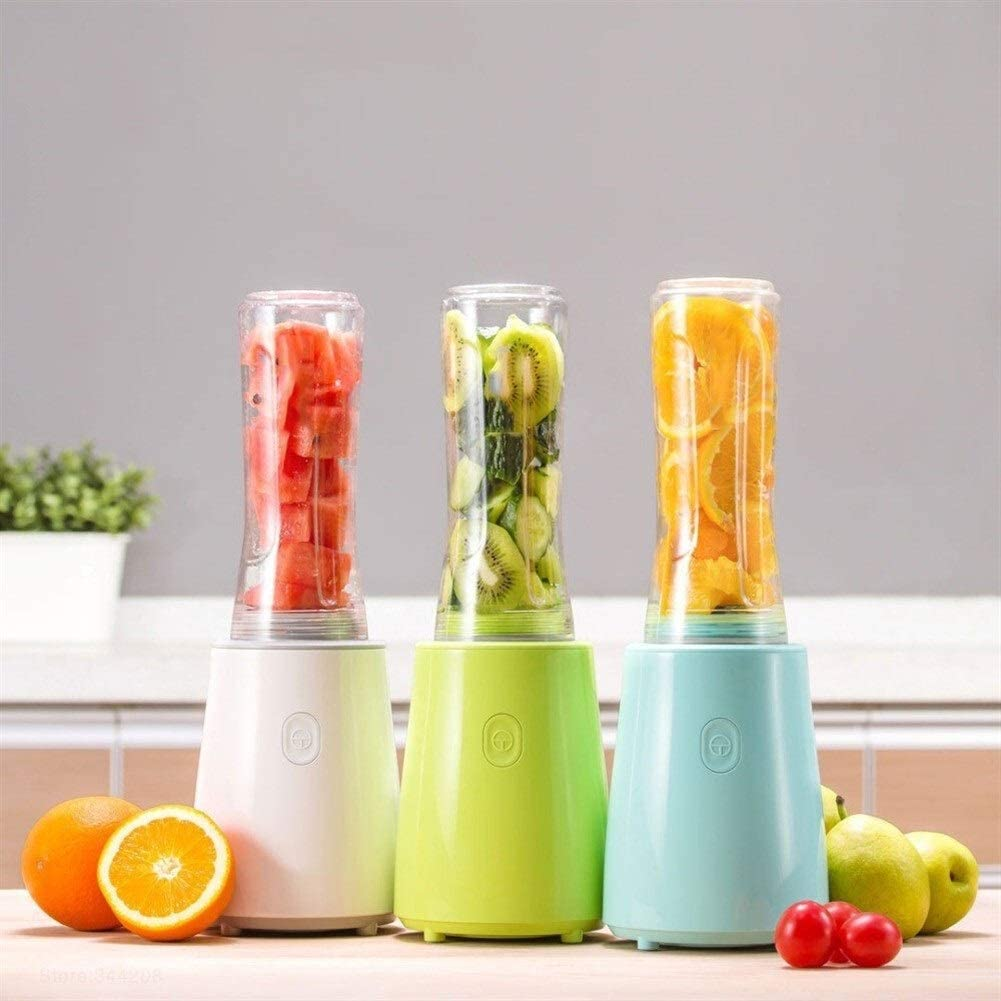 Portable Fruit Groenten blenders Cup koken machine Elektrische Juicer mixer Kitchen keukenmachine (Color : White and Cup 2pcs) Blue and Cup 2pcs