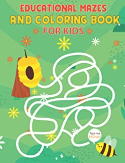New Educational mazes and coloring book for kids ages 4-8: Fun Activities For Smart Kids, Includes Mazes, Word Search, Cro...