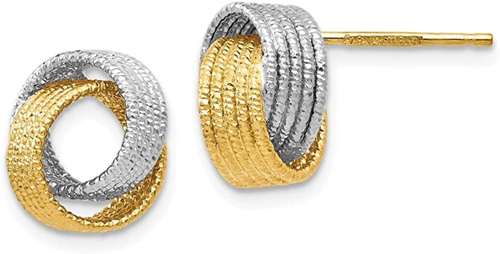 14k Yellow and White Gold Two Tone Textured Love Knot Studs Earrings - 10mm x 10mm