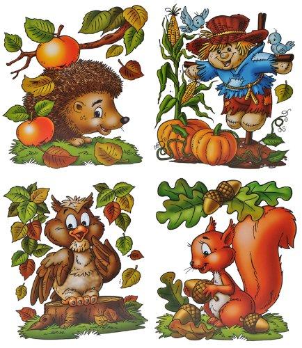 alles-meine.de GmbH 4 Stück: XL Fensterbilder Herbst - Eichhörnchen / Eule / Igel / Vogelscheuche - Sticker Fenstersticker / Aufkleber selbstklebend & statisch haftend wiederverw..