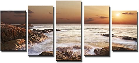 Wieco Art - The Rocky Sea Modern 5 Panels Seascape Canvas Prints Artwork Sea Beach Pictures Paintings on Canvas Wall Art f...
