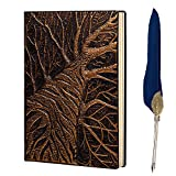 Vintage Leather Notebook,Embossed Notepad Travel Diary Notebook,A5,With Vintage Feather Pen,Gift for Women Men,DIY Gift for Valentines Birthday Anniversary (Big Tree)
