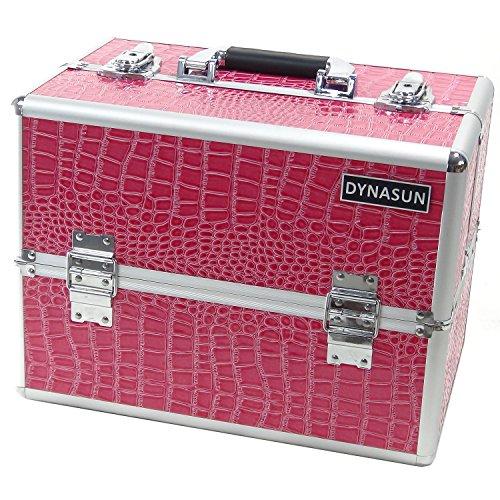 Beauty Case Make Up DynaSun BS35 XXL Rosa/Argento con Disegno di Pelle di Coccodrillo Valigia Cofanetto Porta Gioie Smalti Oggetti