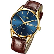 OLEVS Men's Watches Luxury Sports Casual Quartz Wristwatches Luxury Leather Watches -Waterproof...