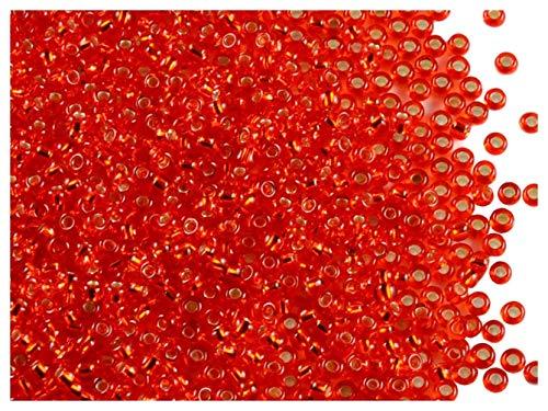 Preciosa Rocailles, 10/0, 20gr, Cuentas de Semillas Redondas checas, Vidrio de Bohemio, Agujero Redondo, Red-Orange Transparent/Silver Lined