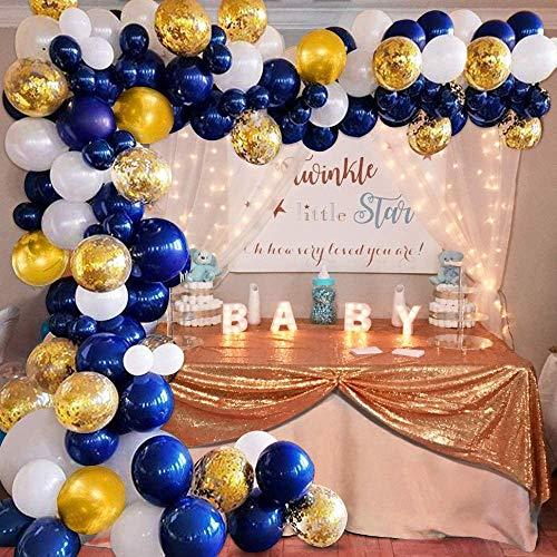 APERIL Luftballons Gold-Geburtstag Dekoration, Marineblau Luftballons, Luftballon Weiß, Ballons Konfetti,Ballons für Hochzeit Kinder Geburtstag Party Dekoration