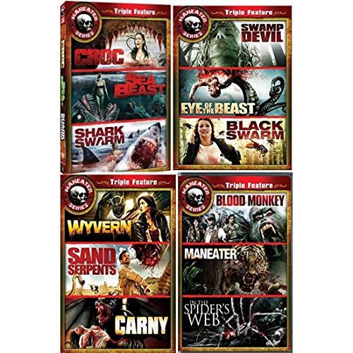 12 Movie Maneater DVD Set: CROC / SEA BEAST / SHARK SWARM / SWAMP DEVIL / EYE OF THE BEAST / BLACK SWARM / WYVERN / SAND SERPENTS / CARNY / MANEATER / IN THE SPIDER'S WEB / BLOOD MONKEY