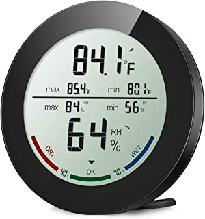 ORIA Indoor Hygrometer Thermometer, Digital Humidity Monitor, Temperature Humidity Gauge Meter, with 2.5 Inches LCD Display, Min and Max Records, for Home, Office, Greenhouse, Babyroom, Black