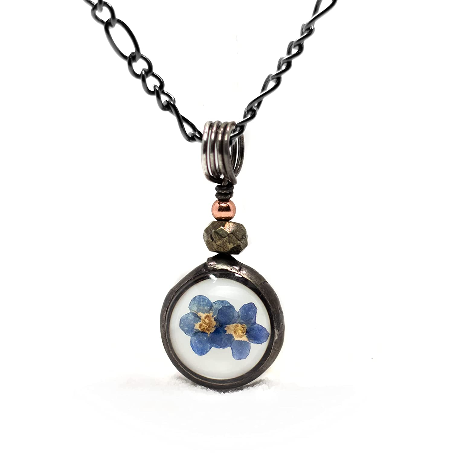 Dainty Forget Me Not Flower Pendant made Very popular Real with F Very popular Dry Pressed