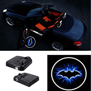 Premium Wireless Car Door Light Led Easy Installed Welcome Laser Projector Pastable Logo Light Holeless Ghost Shadow Lamp Logos Replacement for All Car Accessory 2 Pcs (BAT2)