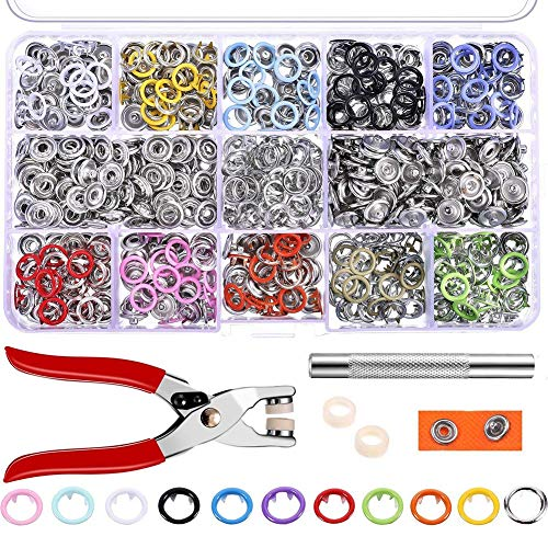 Snap Fastener Kit Tool 200 Pcs with Jewelry Setting Plier Plastic Sewing Snaps Button Repair Kit for Clothing
