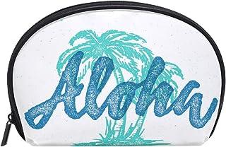 ALAZA Aloha Palm Tree Half Moon Cosmetic Makeup Toiletry Bag Pouch Travel Handy Purse Organizer Bag for Women Girls