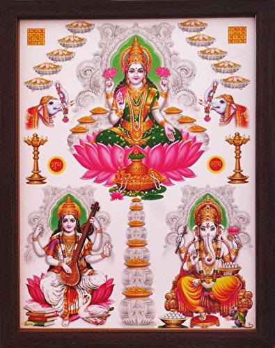 HandicraftStore Göttin Laxmi mit Maa Saraswati und Lord Ganesha, Poster Malerei in Holz Rahmen, Müssen für Immer Home/Office/Religiöse und Geschenk Zweck