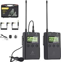 Sistema de micrófono inalámbrico, micrófono de solapa MAONO Lavalier con atenuación de 10 dB y corte bajo, monitoreo de audio en tiempo real, 48 canales y silencio compatible con Canon Nikon Sony DSLR, videocámaras, smartphones