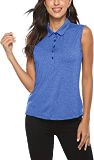AIRIKE Golf Polo Shirts for Women Sleeveless Summer Sports Athletic Fashionable Workwear-Quick Dry Womens Tank Tops