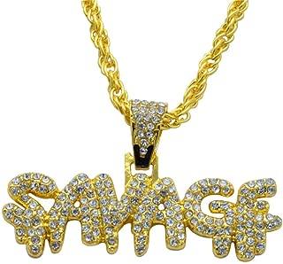 sameno Men's Hip-hop European and American Full Diamond Letters SAVADF Pendant Necklace Trend Fashion Jewelry