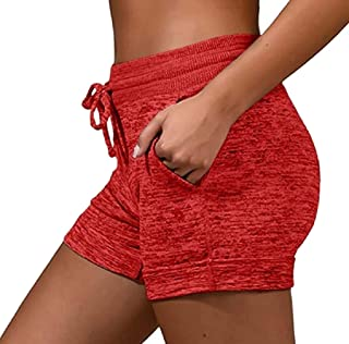 Womens Casual Drawstring Waist Shorts Solid Active Workout Shorts with Pockets