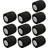 ESUPPORT 2 Inches X 5 Yards Self Adherent Cohesive Wrap Bandages Strong Elastic First Aid Tape for Wrist Ankle Black Pack of 10