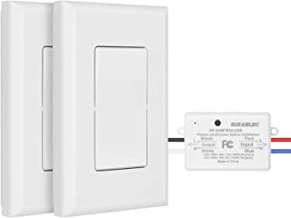 Suraielec 3 Way Wireless Light Switch, No Wiring, No WiFi, 100ft RF Range, Pre-Programmed, Expandable Wireless Wall Switch...