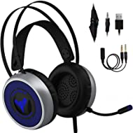 [Newest 2019] Gaming Headset for Xbox One, S, PS4, PC with LED Soft Breathing Earmuffs,...
