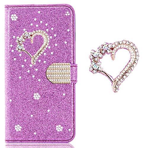 WANYINGLIN Girl Colorful Bling Hülle für Xiaomi Mi 10T Lite,Modisch Love Diamond Sparkle Glitter Glitzer Bookstyle Stand Funktion Magnet Wallet Flip Leder Leather