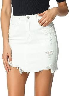 Women's Irregular Basic 5 Pocket Ripped Hole Mini Denim Pencil Skirt