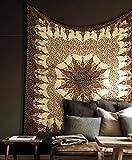 Popular Handicrafts Tapiz indio de mandala intrincado diseño floral hippie 215 cm x 230 cm, color marrón y negro
