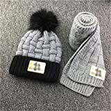 ECSWP MZWJTJKD Winter Soft Knit Hat Bufanda Set Kids Novelty Engrosada Bufanda de Gorro con Parches de PU