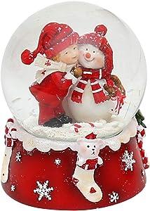 Bella piccola palla di vetro con pupazzo di neve e un bambino, Ø 6,5 cm