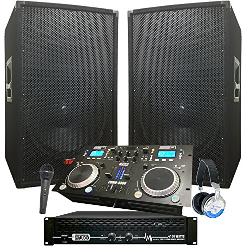Rock The House DJ System - 4100 WATT DJ System - Connect your Laptop, iPod, USB, MP3s or Cds! 15 Speakers, Amp, Mixer/Cd Player, Mic, Headphones.