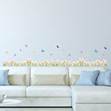 Amazon Brand - Solimo Wall Sticker for Home (Lilies and Butterflies, Ideal Size on Wall, 186 cm X 30 cm)