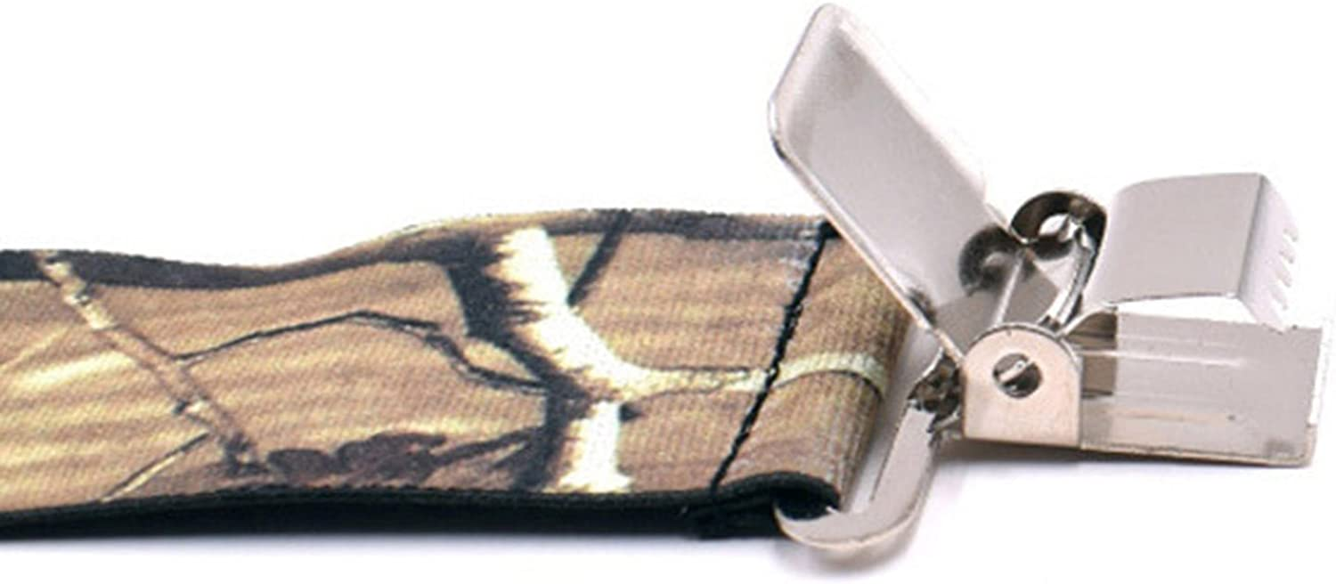 MENDENG 2 Inch Camo Suspender X Back Elastic Strong Clips Braces Heavy Duty