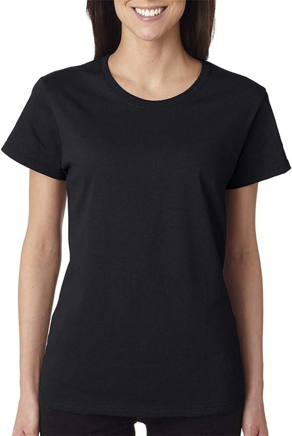 Gildan Heavy Cotton Womens 5.3 oz. Missy Fit T-Shirt (G500L) BLACK at Amazon Women's Clothing store