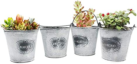 4.25 inch Diameter 4 Pack Rustic Metal Bucket Hanging Flower Pots, Portable Leak-Proof Bucket,Potted Plants or Artificial Plants Home Decoration or Children's Small Toy or Candy Storage Gray