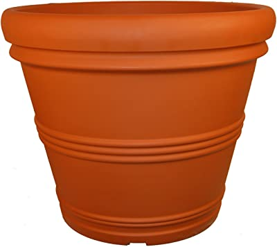 Tusco Products RR245TC Rolled Rim Garden Pot, 24.5-Inch, Terra Cotta Color.