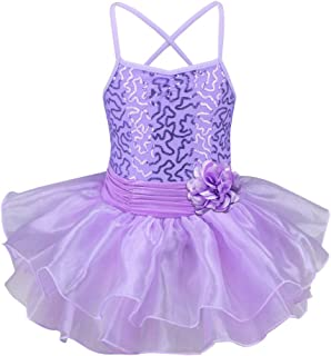TFJH E Little Girls' Sequin Ballet Tutu Dress Kids Flower Strap Athletic Leotard 2-8 Years