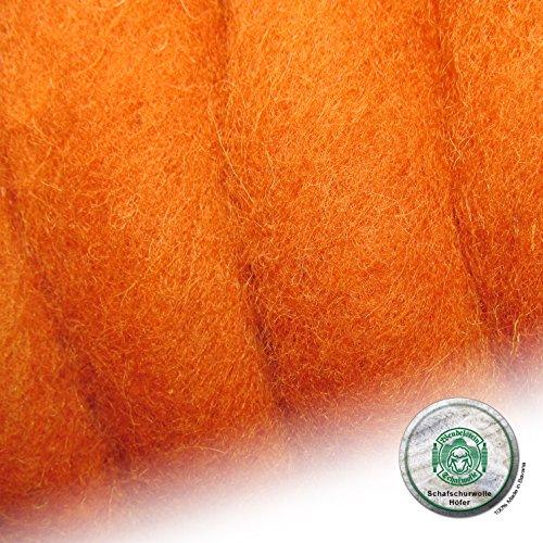 Schafwolle Höfer Filzwolle Bastelwolle Märchenwolle gefärbt 100 Gramm Farbe 35 orange