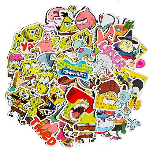 Bob Esponja Pegatina Pie Big Star de dibujos animados lindo equipaje maleta portátil teléfono pegatinas 50 piezas