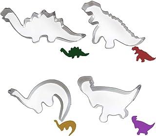 Ealicere 4 Morceaux d'acier Inoxydable Dinosaure Biscuit De Moule Convient pour Les fêtes la pâtisserie
