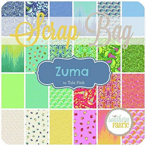 Spirit Tula Pink Zuma Scrap-Beutel, ca. 2 m, ca. 2 m Stoff (mindestens 8 Stück), 5,1 bis 43,2 cm Streifen