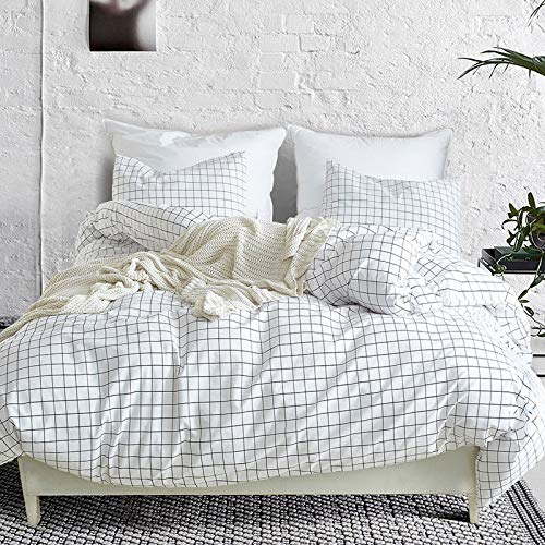 ARYURBU Grid Duvet Cover White Double Duvet Cover 3 Pieces Brushed Microfiber Plaid Quilt Cover Set,1x Duvet Cover 2x Pillowcases,Comforter Cover with Zipper Closure (Double 200x200cm)