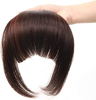 HUA MIAN LI Bob Flat Hair Bangs Heat Resistant Synthetic Hair Clip-in Bangs Straight Bangs With Fringe One Piece Clip Dark Red Brown Aoert