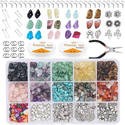 Chip Edelsteinperlen für Schmuckherstellung, 15 Farben Unregelmäßige Natürlicher Edelstein, Schmuck Perlen mit Ohrring Haken Biegeringe für DIY Schmuck Halskette Armband Herstellung Zubehör