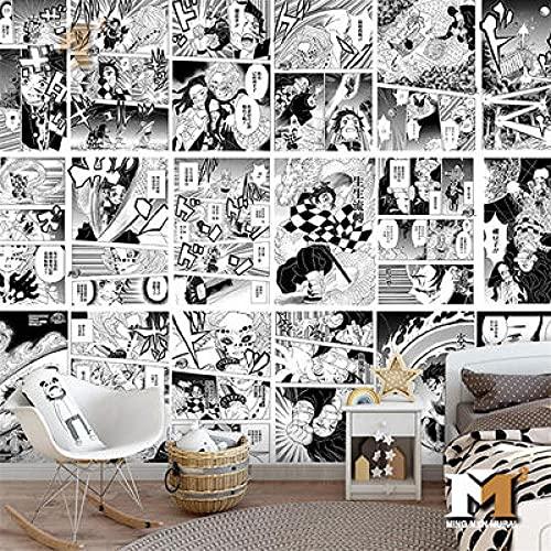 Papel Tapiz De Manga En Blanco Y Negro, Papel Tapiz De Anime Ghost Slayer De Dibujos Animados, Estudio De Dormitorio, Fondo De Cabecera, Revestimiento De Paredes