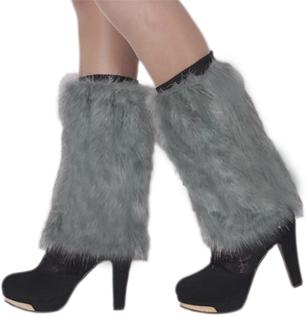 Womens Faux Fur Boots Shoes Cuffs Winter Ankle Lower Leg Warmer Boots Sleeve Cover