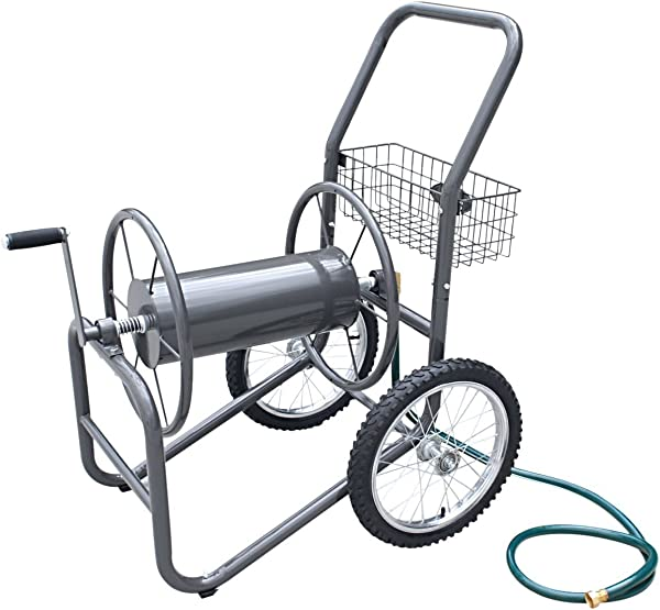 Liberty Garden 880 2 Industrial 2 Wheel Pneumatic Tires Garden Hose Reel Cart Holds 300 Feetof 5 8 Inch Hose Gray