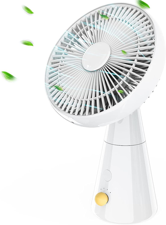 HLHome Ventilador Silencioso, 5000 mAh Ventilador a Pilas Potente, 25 cm Ventilador de Mesa, 4 Velocidades Ventilador Sin Cable para la Oficina, Cuarto, Viajar, Acampar (Blanco)